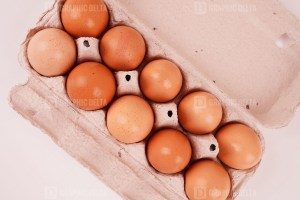Eggs in a cardboard box
