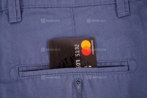 Mastercard credit card in pocket