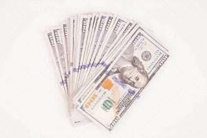 Stack of hundred dollar banknotes