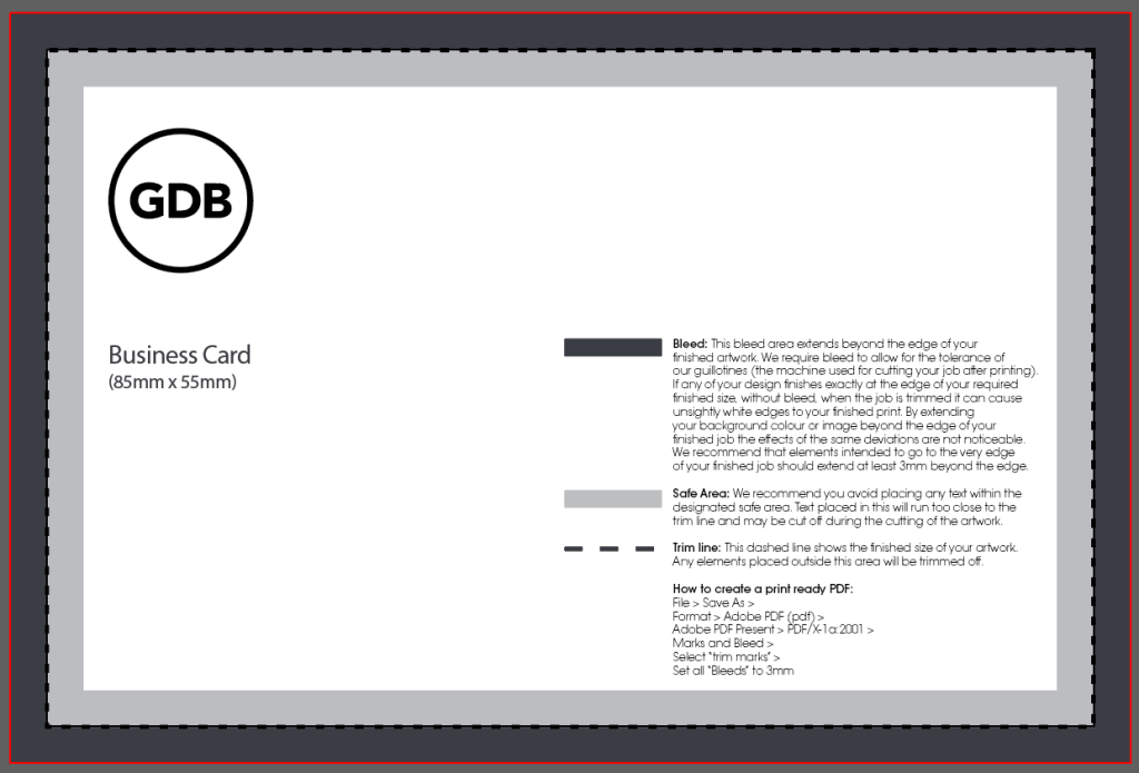 Business Card Design Template - 85 mm x 55 mm with 3mm bleed