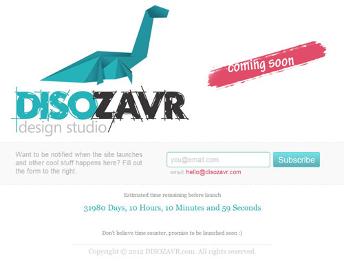 Disozavr Design Studio Coming Soon Page Design