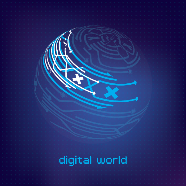 Digital World Vector Graphic
