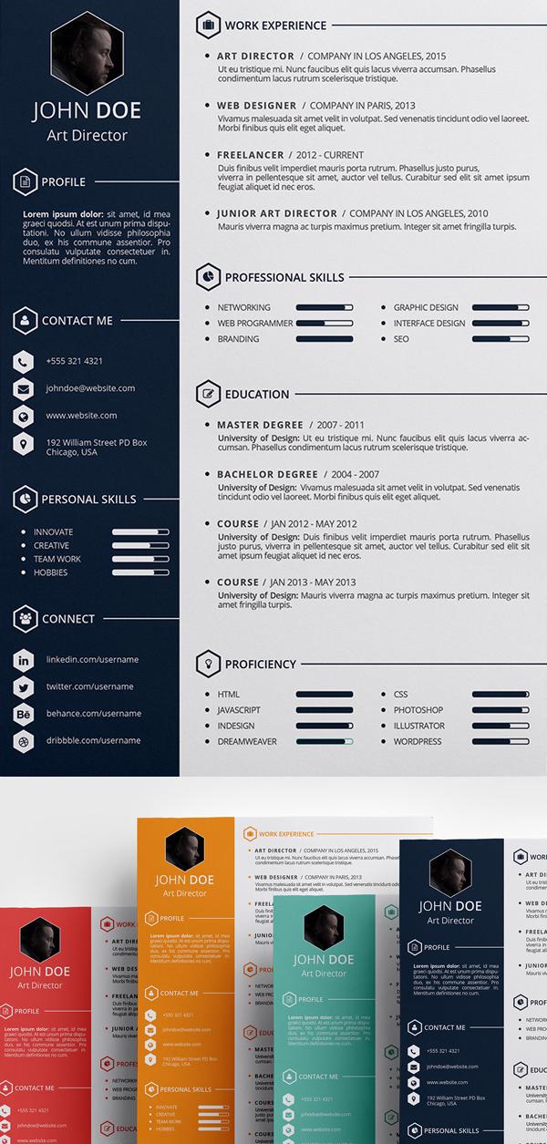 15 Free Elegant Modern CV Resume Templates PSD Freebies Graphic Design Junction
