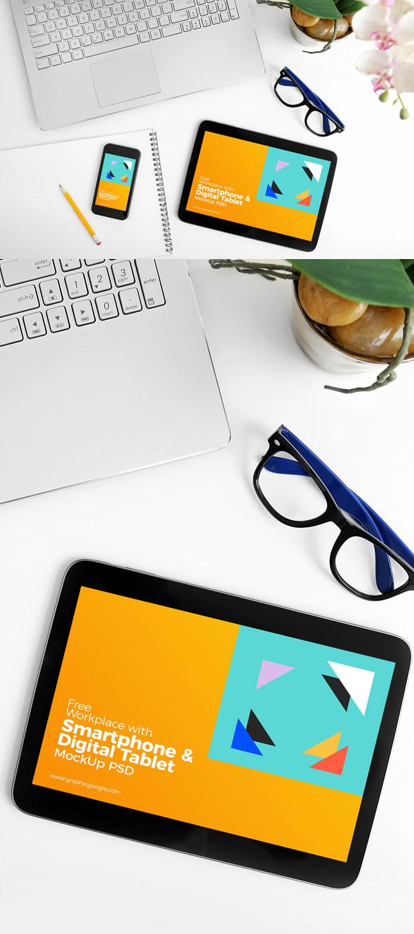 Lugar de Trabajo Libre con smartphone y la tableta digital MockUp PSD