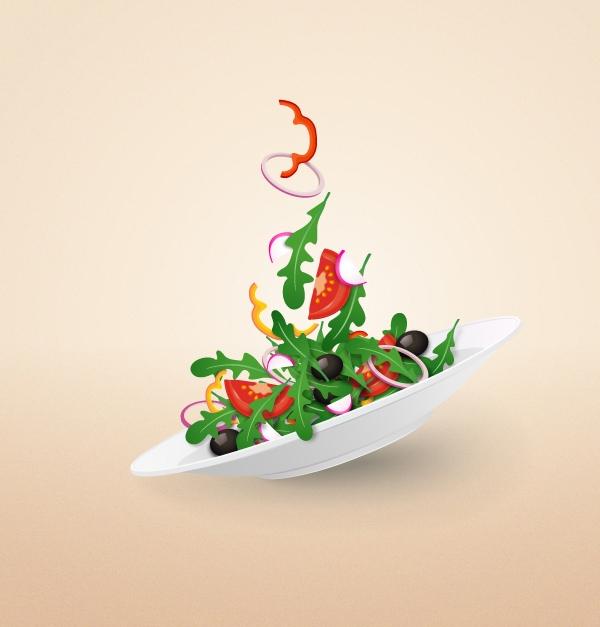 Cómo crear una placa de ensalada de colores en Adobe Illustrator