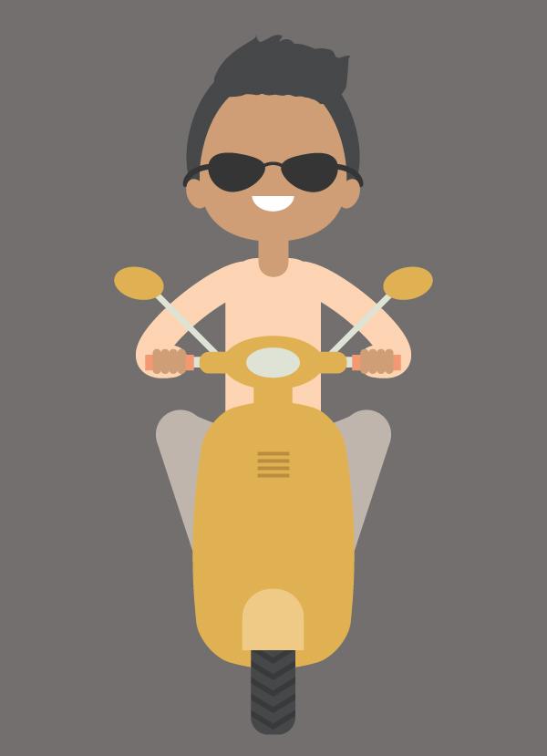 Cómo crear una ilustración de un niño en una moto en Adobe Illustrator