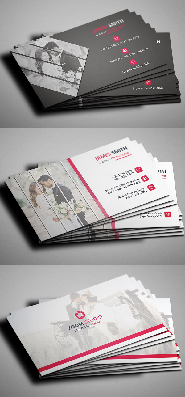 Plantilla de la tarjeta de visita de la fotografía PSD