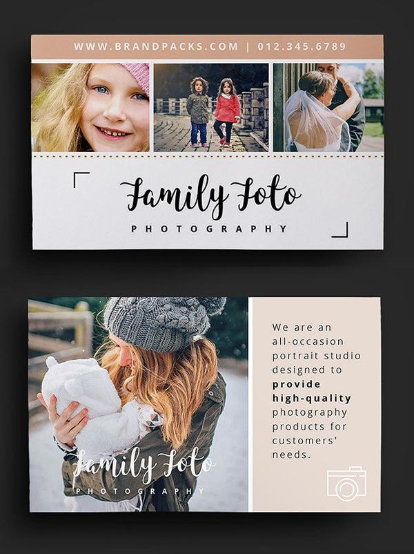 Tarjeta de visita del fotógrafo de la familia