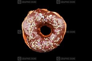 Doughnut on Black Background