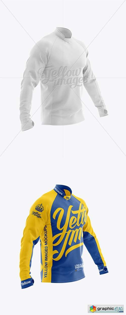 Download Long Sleeve Jersey Mockup - Half Side View » Free Download ...