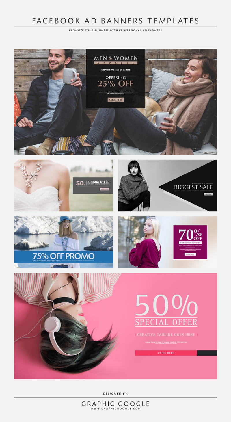 Targeted ads are facebook's special juice, and scroll down your timeline will likely prove that the ads you're seeing are anythin. 6 Free Facebook Ad Banners Templatesgraphic Google Tasty Graphic Designs Collection