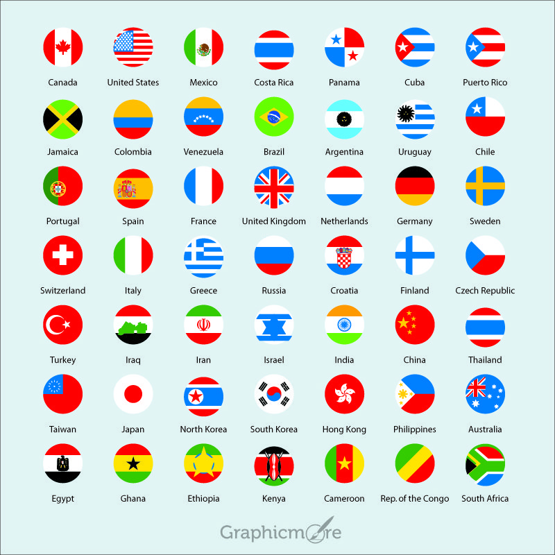 International Flags Icons Pack Free Vector File Download