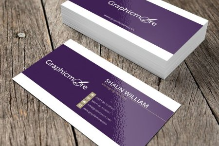 Purple Creative Business Card Template   Mockup Design Free PSD File
