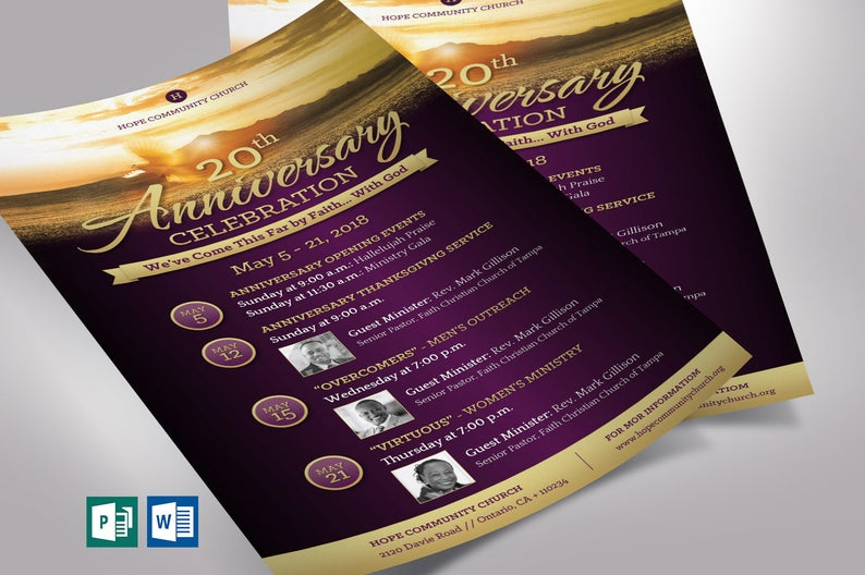 Church Anniversary Flyer Word Publisher Template