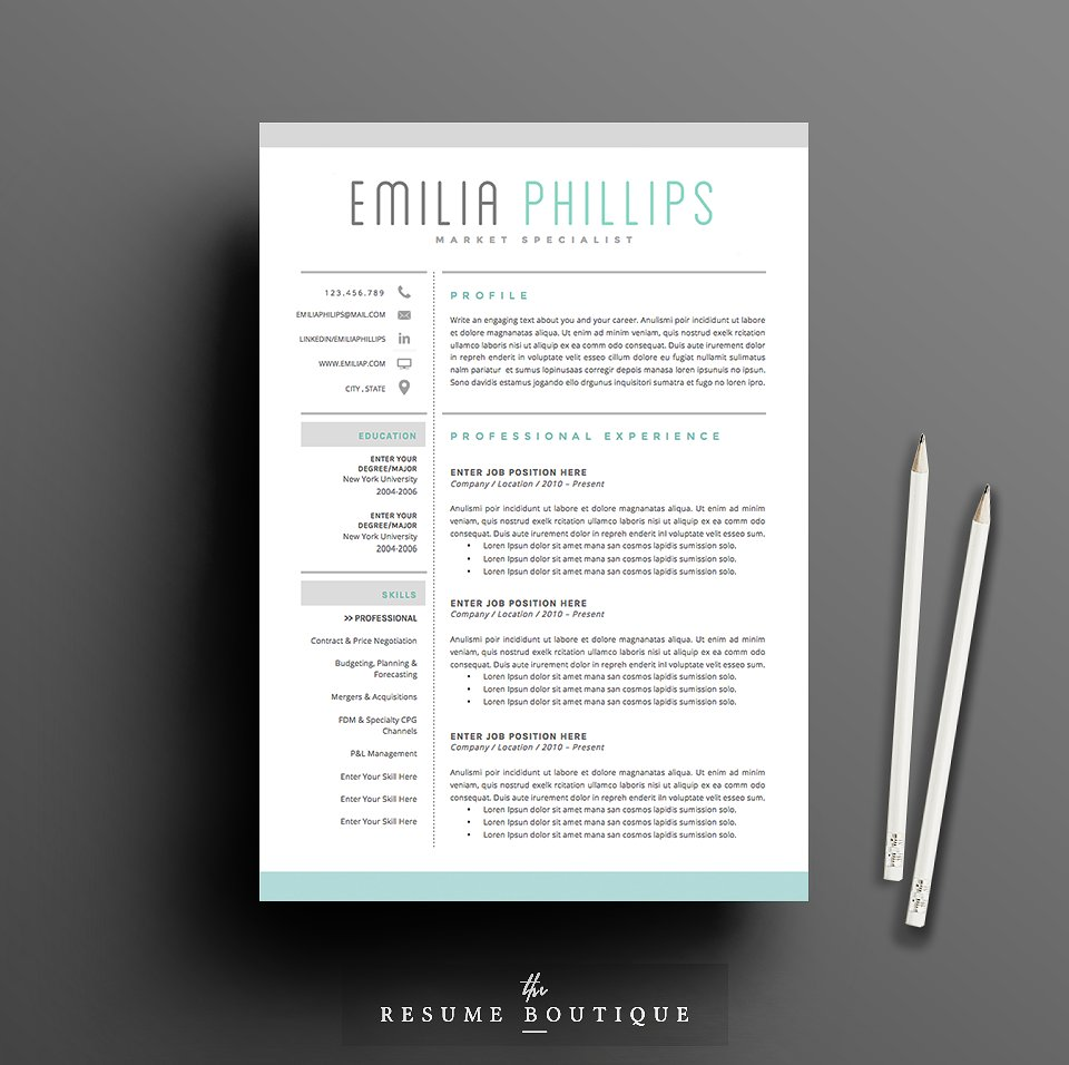 resume template 4 page pack aqua - Indesign Resume Templates