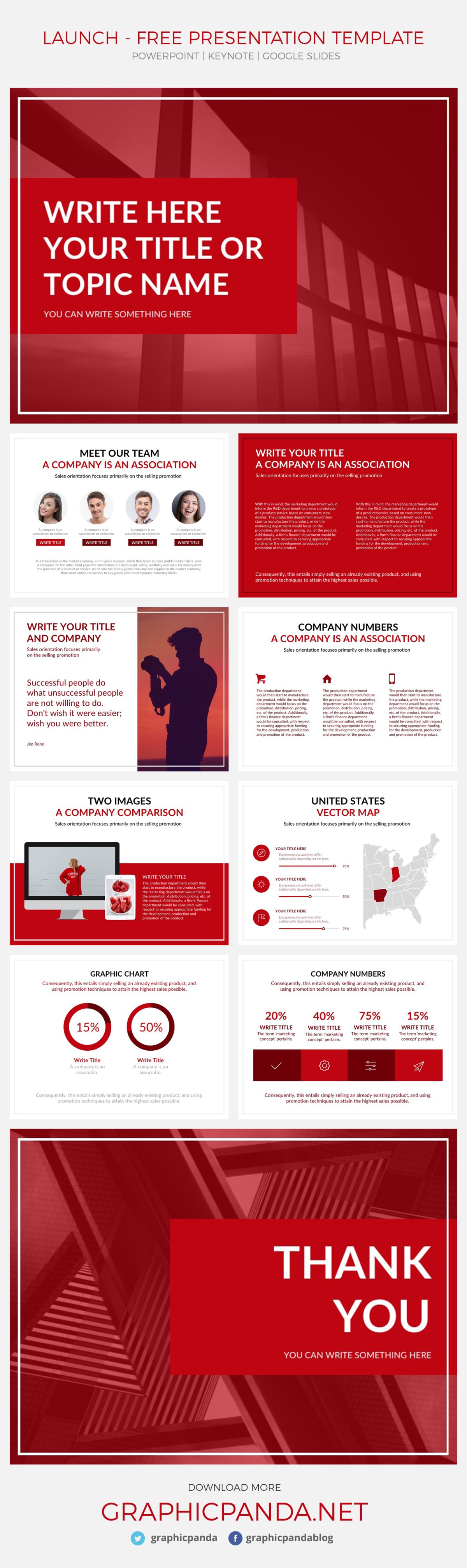 Launch Free Presentation Template Powerpoint Keynote Google Slides - Awesome free red powerpoint templates concept