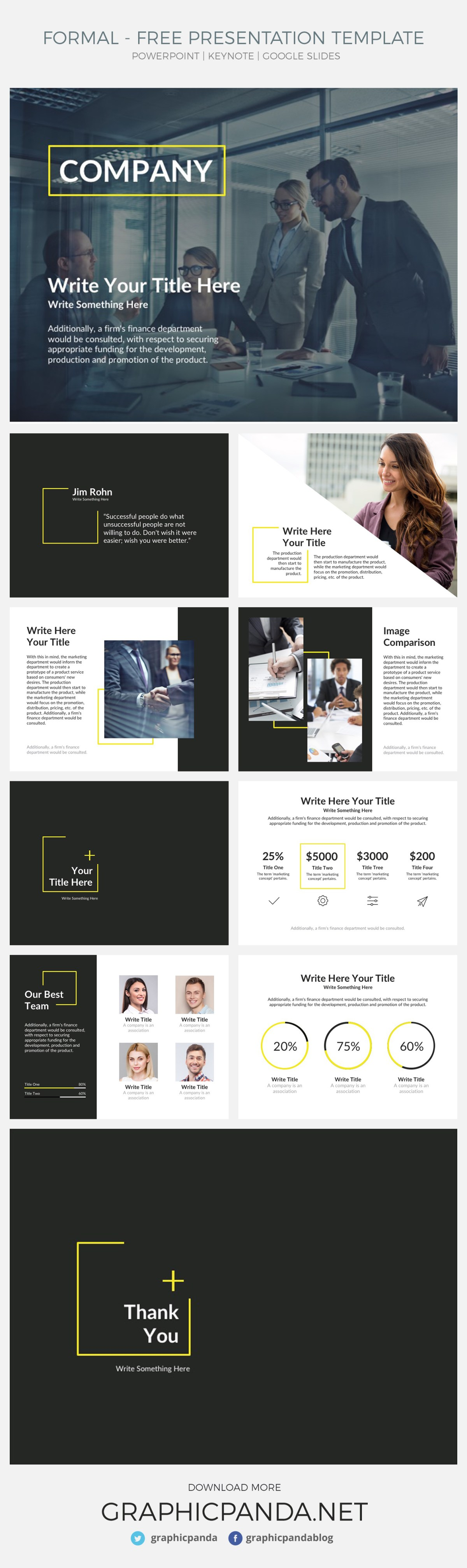 Formal Free PowerPoint, Keynote and Free Google Slides theme