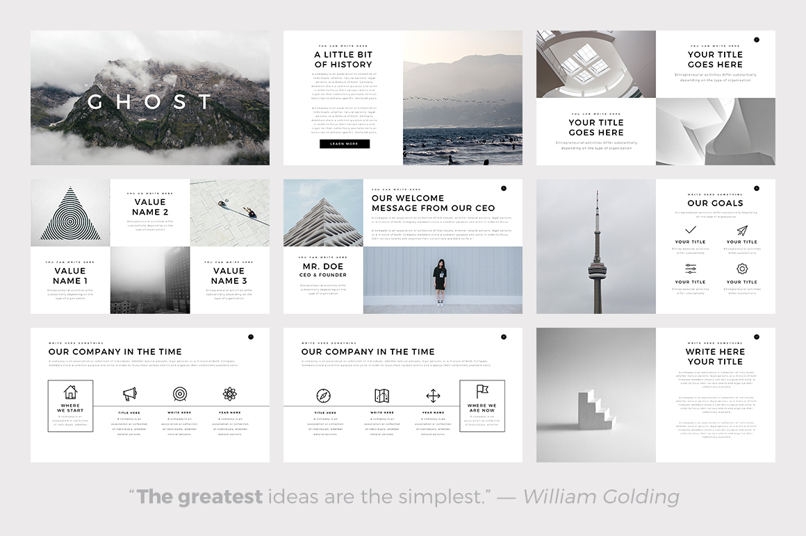 Ghost minimal powerpoint template keynote and google for Minimalist powerpoint template free
