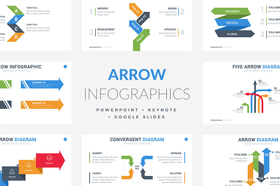 35 arrow infographic template powerpoint keynote