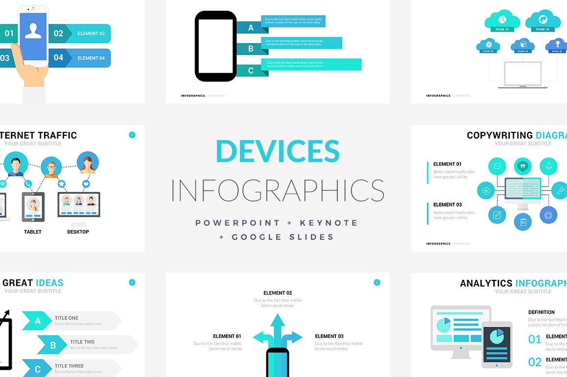16 devices infographic templates powerpoint keynote google slides