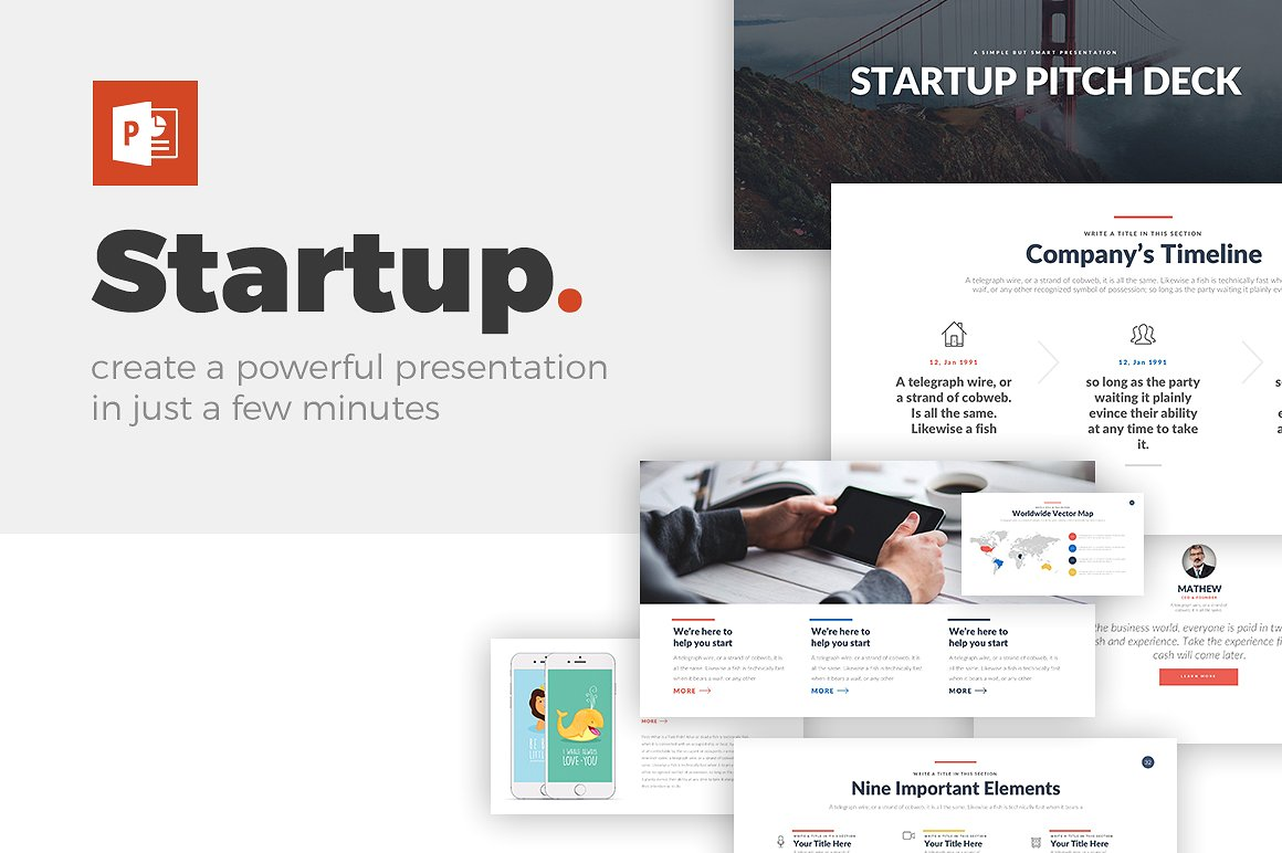 Startup PowerPoint Template - Keynote Theme - Google Slides