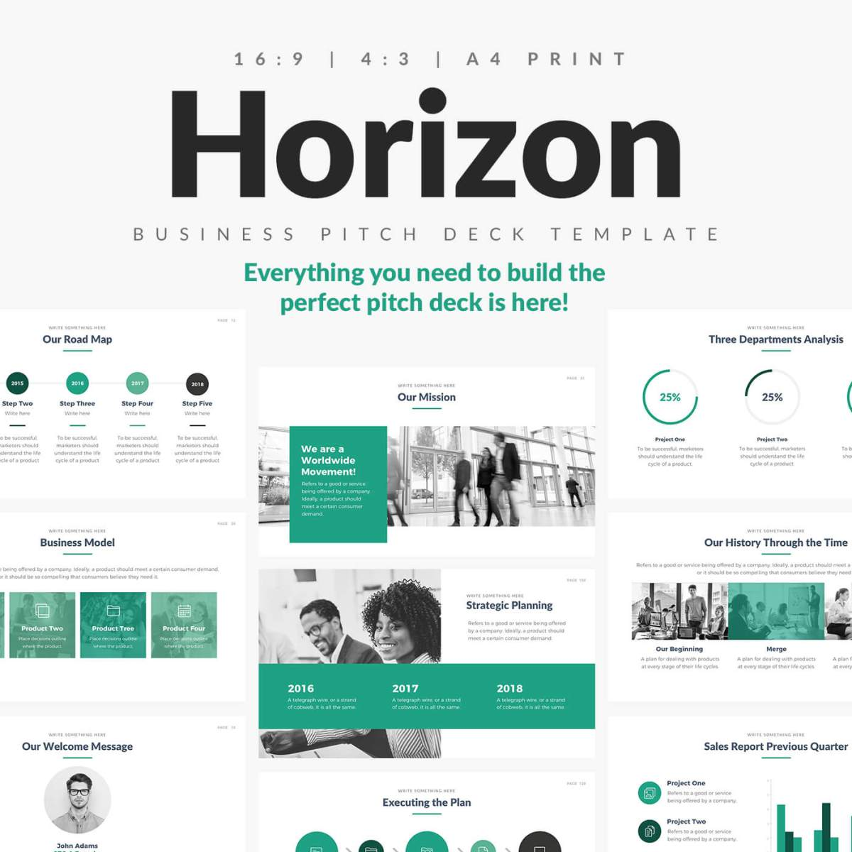 Horizon business pitch deck powerpoint keynote and google slides powerpoint template wajeb Gallery