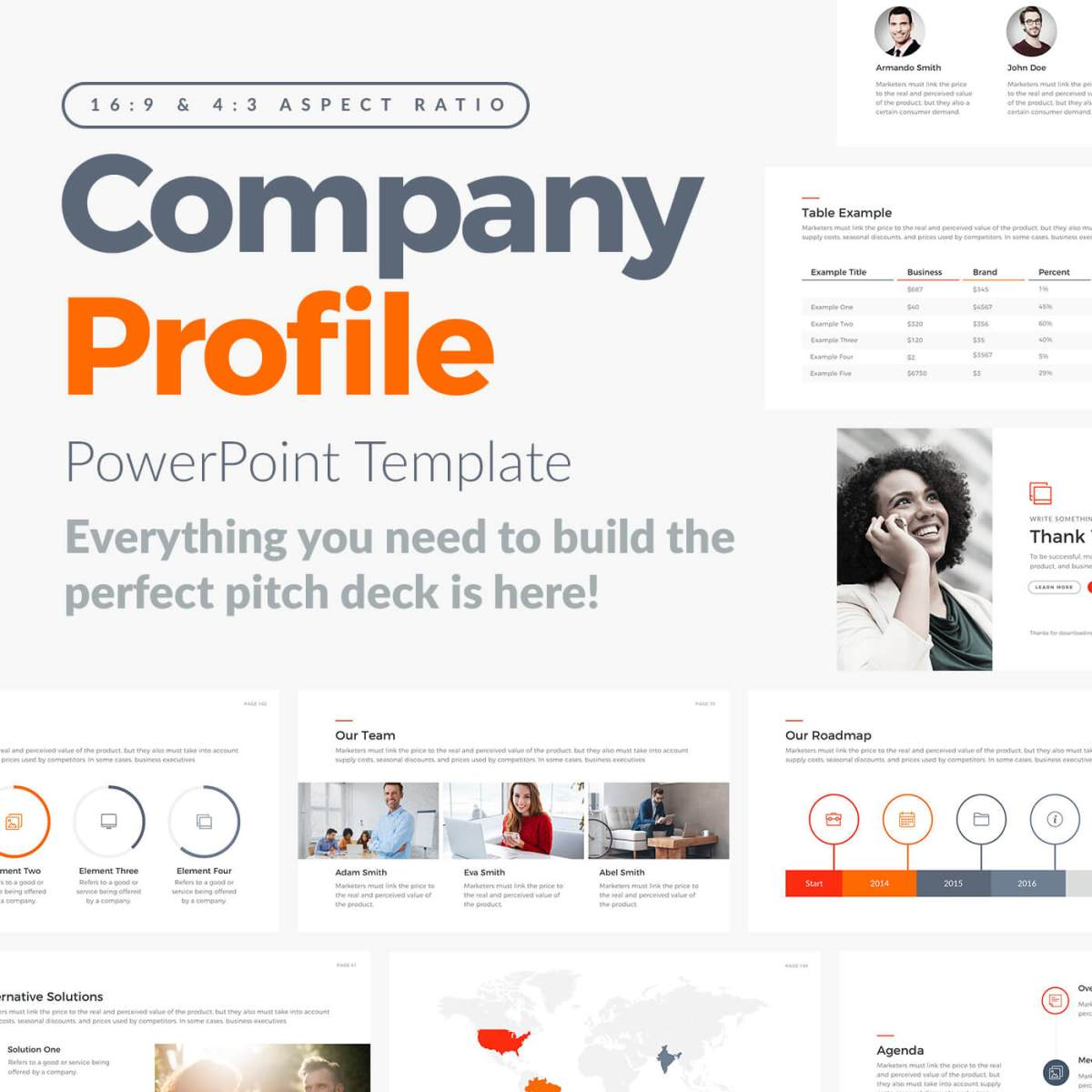 company profile presentation powerpoint template pptx