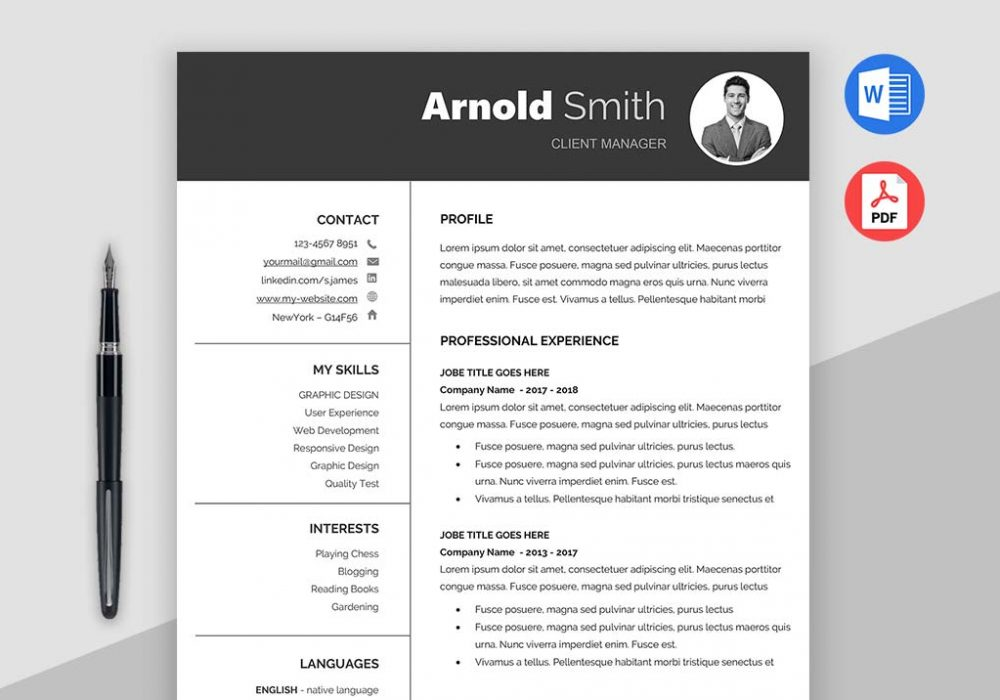 Classic Free Resume Template (MS Word, PDF)