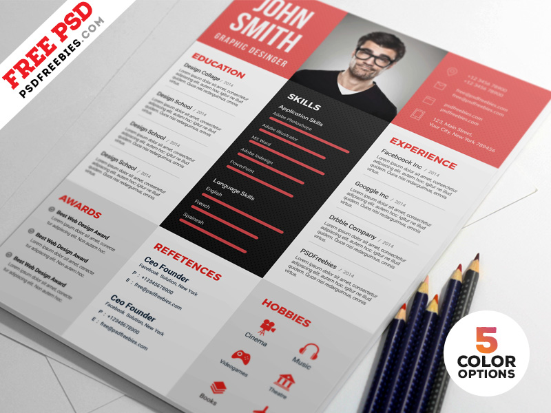Psd Resume Template.75 Best Free Resume Templates Of 2019