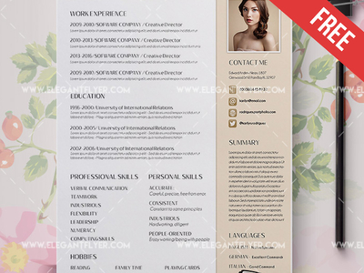Free Work Resume Template CV and Cover Letter
