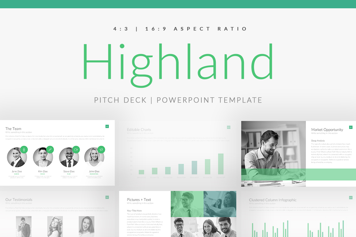 highland pitch deck powerpoint and apple keynote template