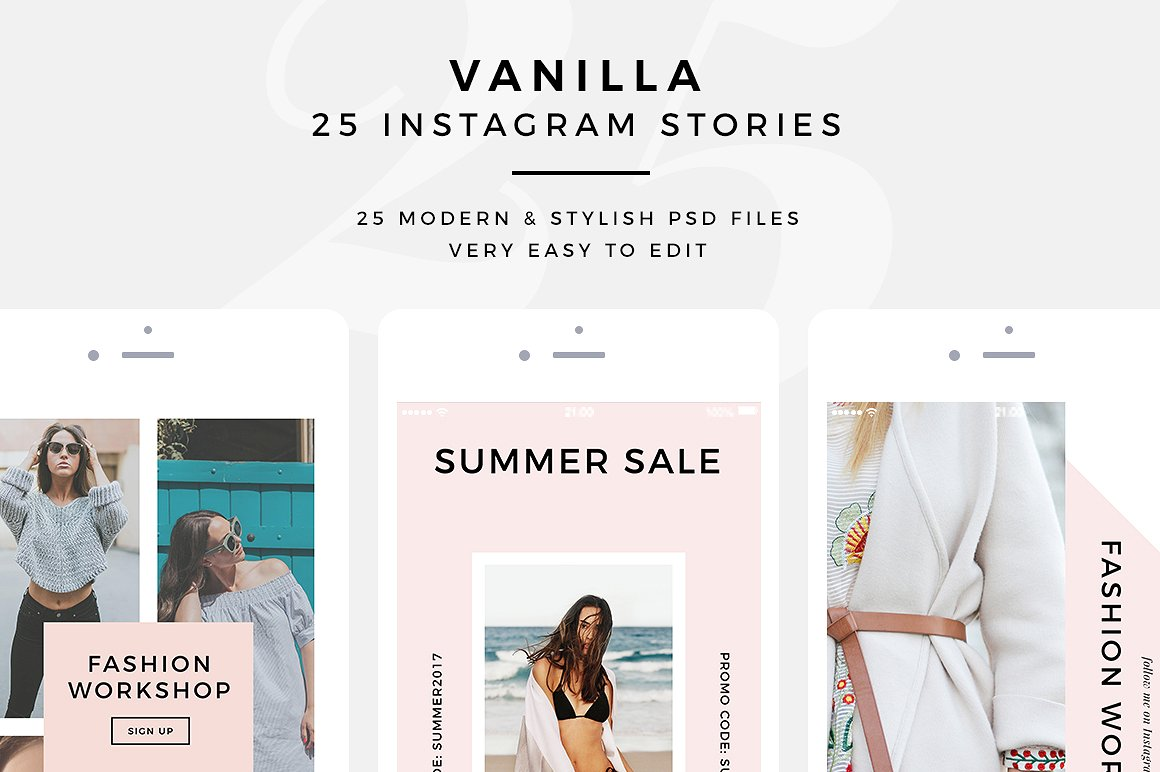 1. Vanilla - 25 PSD Instagram Stories