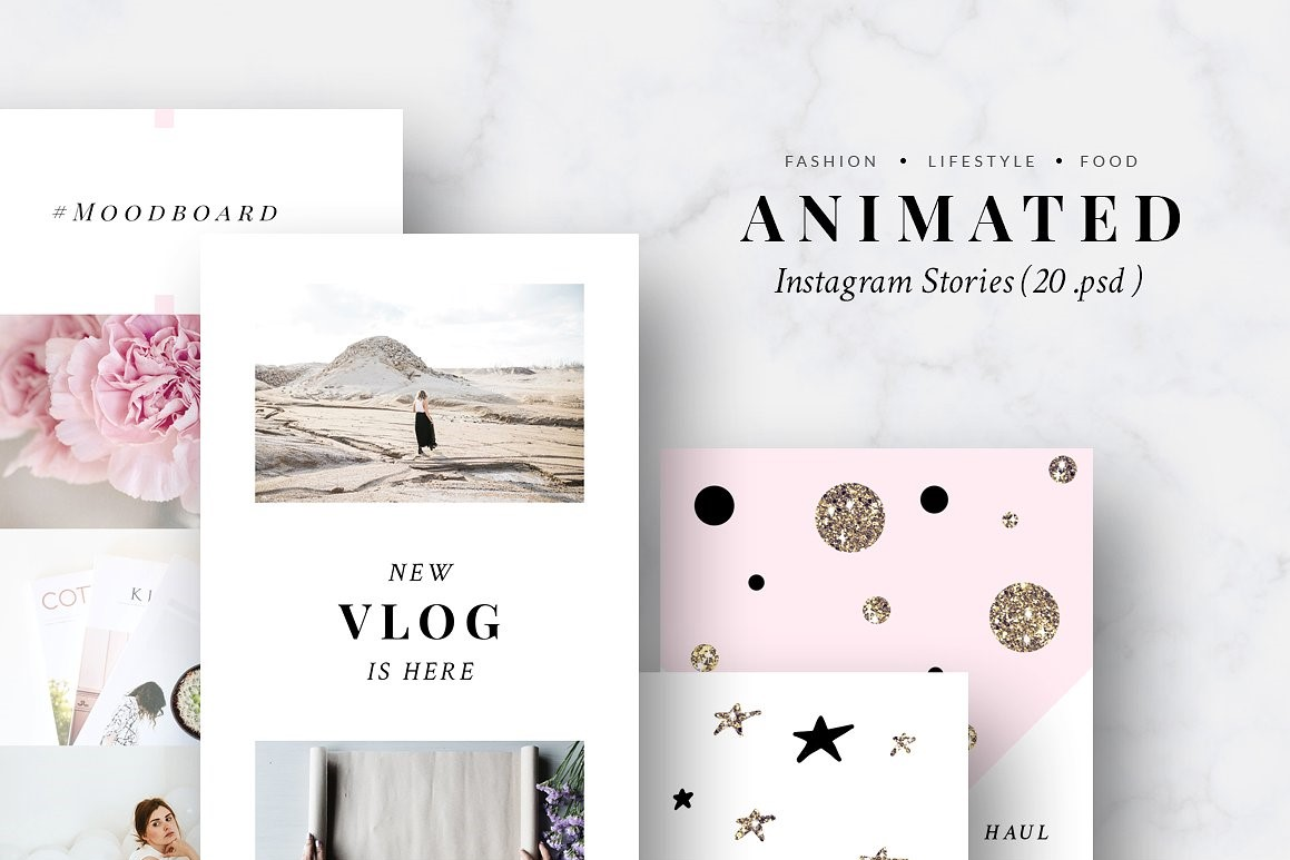 46. ANIMATED Instagram Stories-Pink & Gold