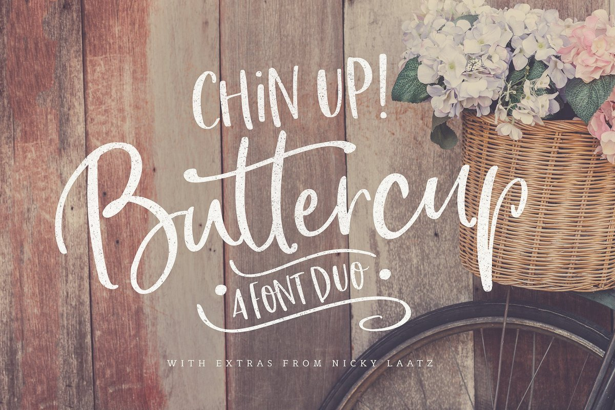 12. Chin Up Buttercup! Font Duo & Extras