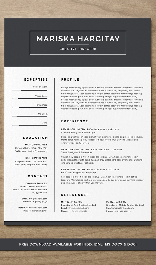29. High End FREE Resume CV for Word + INDD