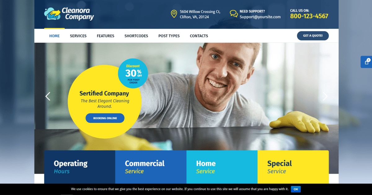 40. Cleanora - Cleaning Services Theme