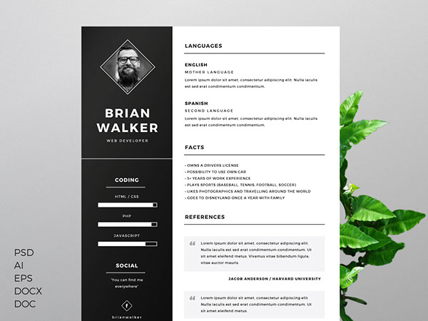 5. Free Resume Template for Word, Photoshop & Illustrator