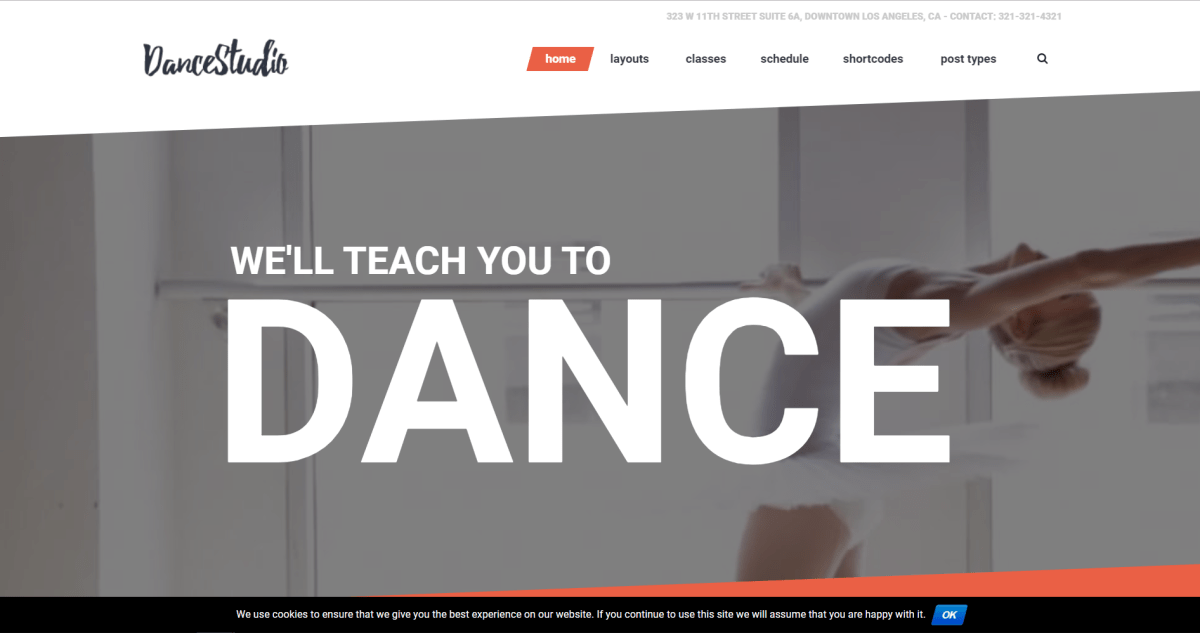 7. Dance Studio - WordPress Theme for Dancing Schools & Clubs