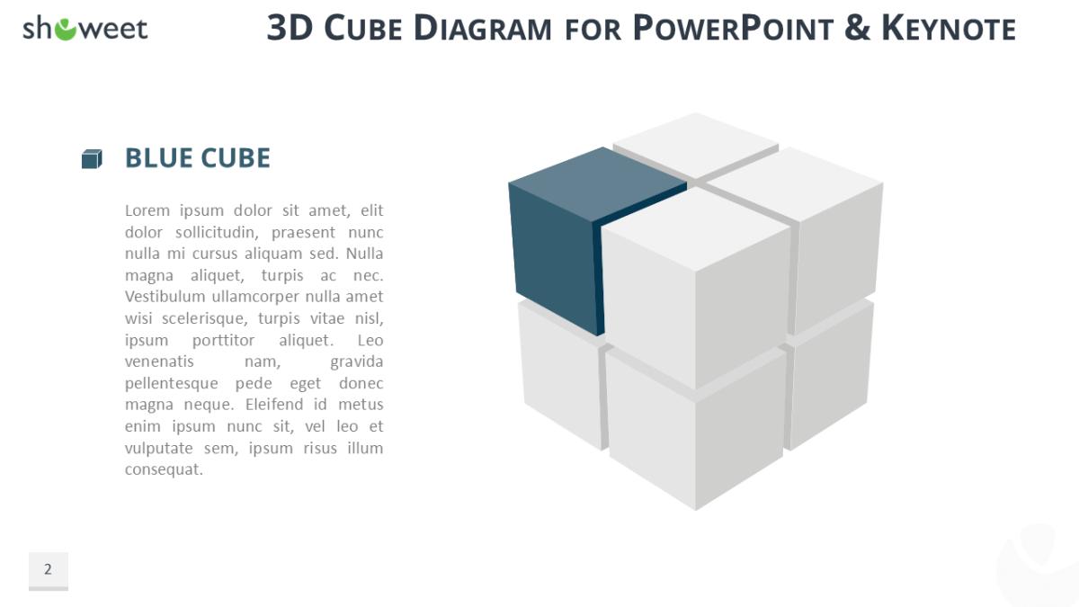 3d cube diagram free presentation template