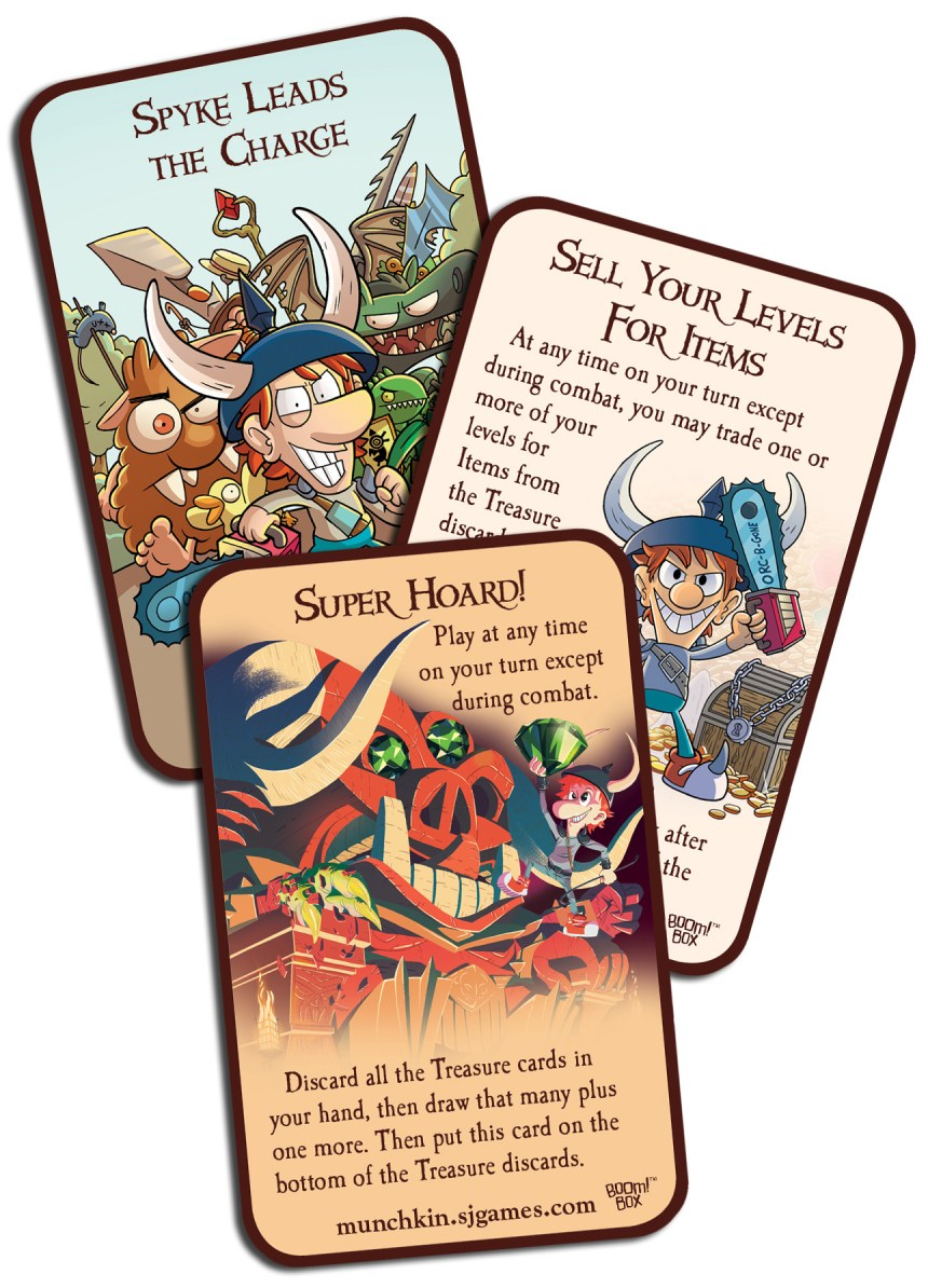 Pictured Exclusive Munchkin cards from the first three issues