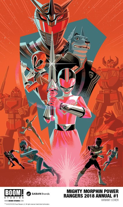 Mighty Morphin Power Rangers 2018 Annual #1 variant cover by George Caltsoudas