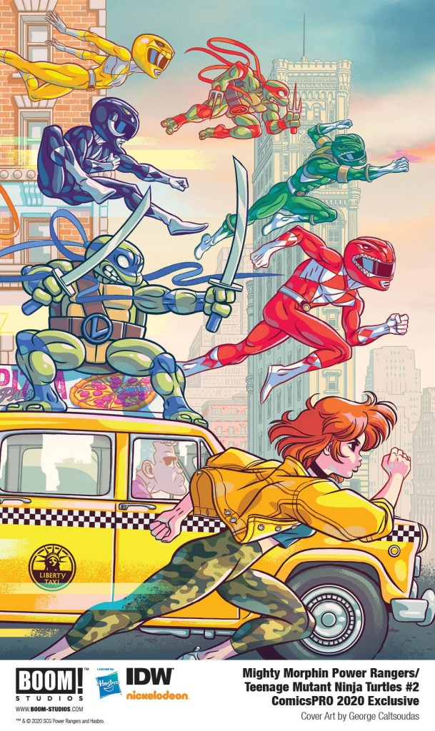 Mighty Morphin Power Rangers/Teenage Mutant Ninja Turtles #2 ComicsPRO 2020 Exclusive Variant Cover featuring art by George Caltsoudas