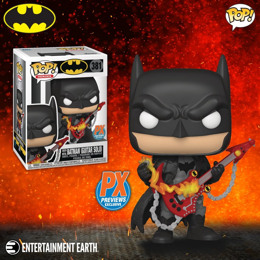 Previews Exclusive Death Metal Batman with Guitar Pop! Vinyl figure