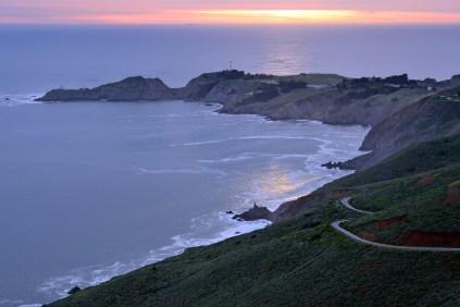 Setting Sun... Bonita Cove and Pt. Bonita Lighthouse - Marin Headlands