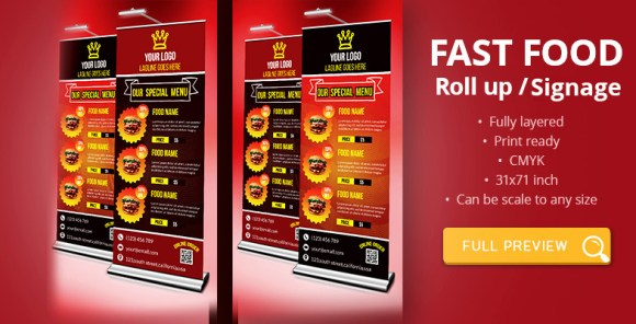 Fast Food Roll-up Signage Template Download