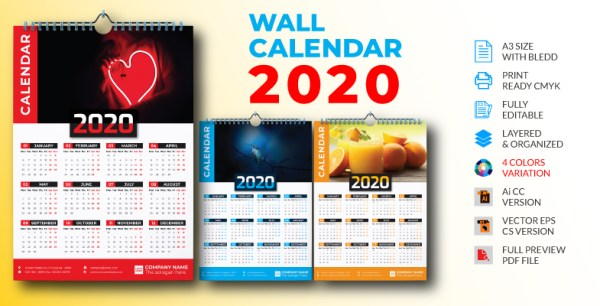 1 PAGE WALL CALENDAR 2020