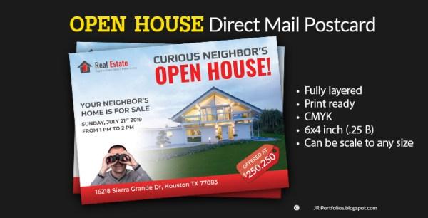 Real Estate Open House Marketing Promotional EDDM Postcard Template