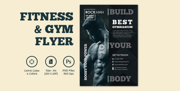 Fitness And Gym Training Center Promotional Flyer Template