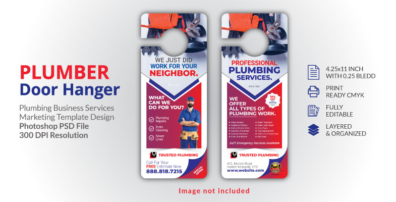 Plumbing Plumber Door Hanger Template Design