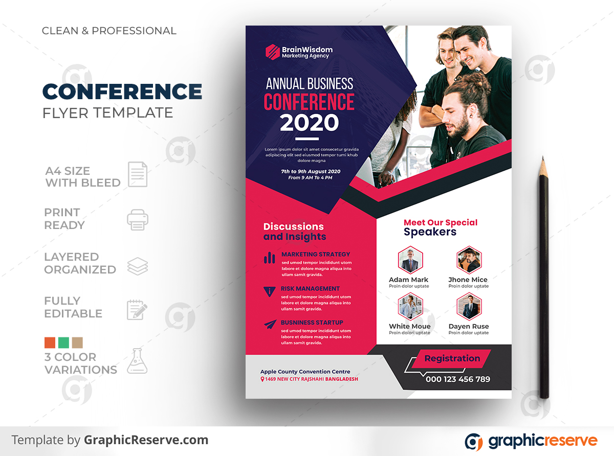 Corporate Business Conference Summit Meeting Event Seminar Flyer Template Preview 1
